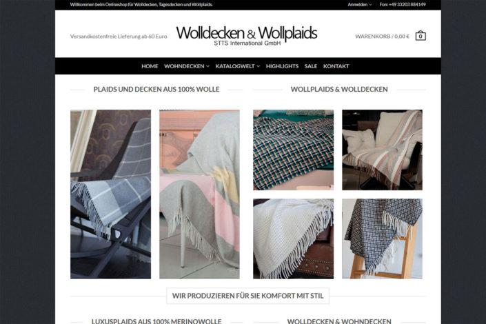 Onlineshop für STTS International (Wolldecken & Wollplaids)