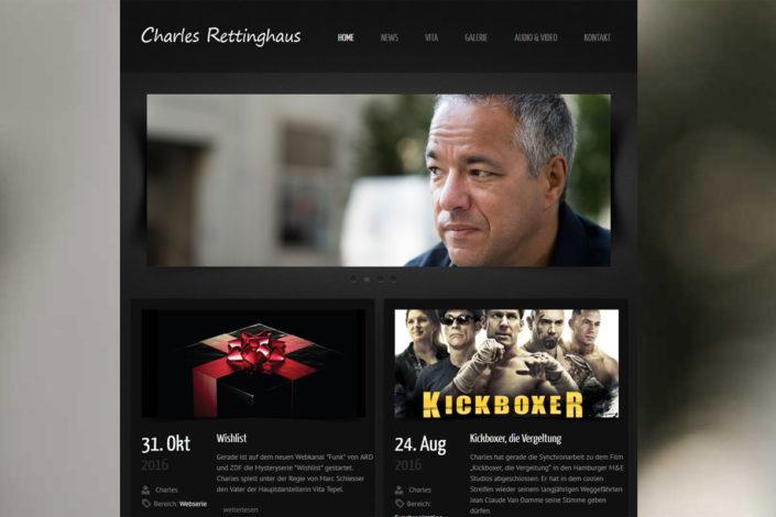 Webdesign für den Synchronsprecher und Schauspieler Charles Rettinghaus