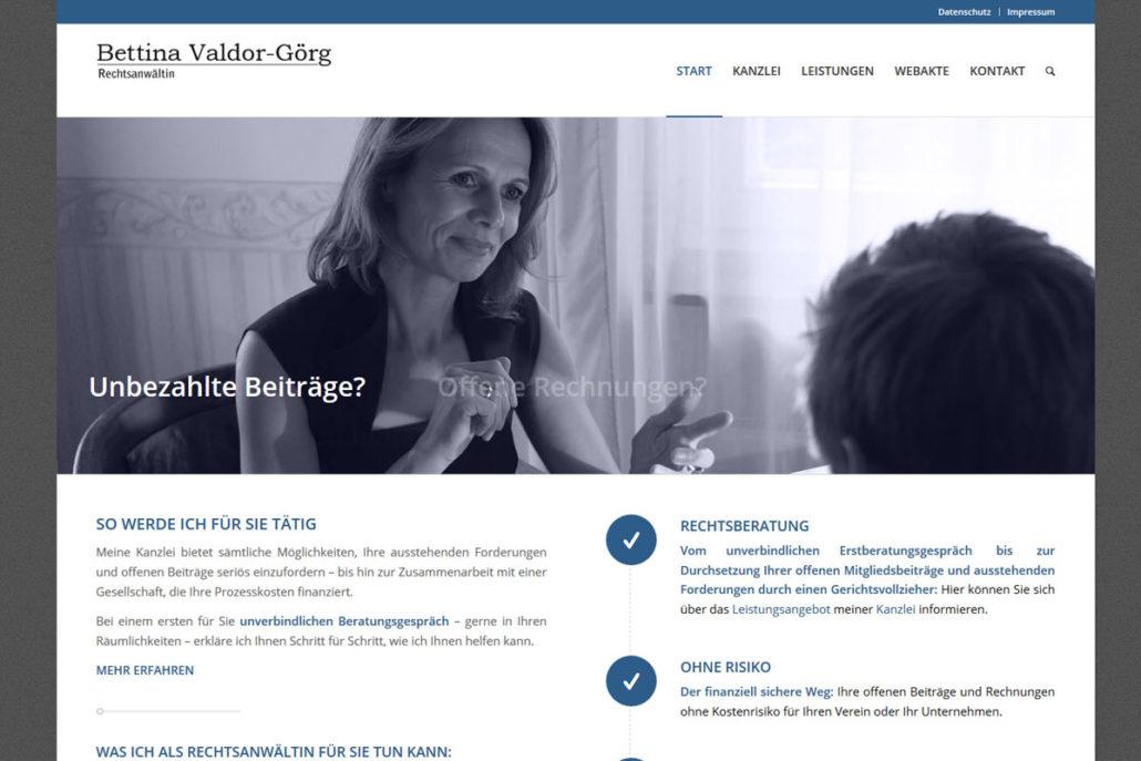 Webdesign für die Rechtsanwältig Bettina Valdor-Görg