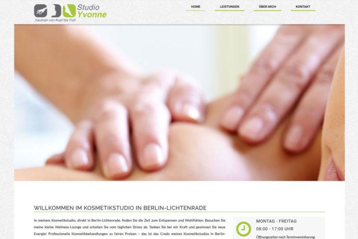 Webdesign für den Beautysalon Studio Yvone in Berlin