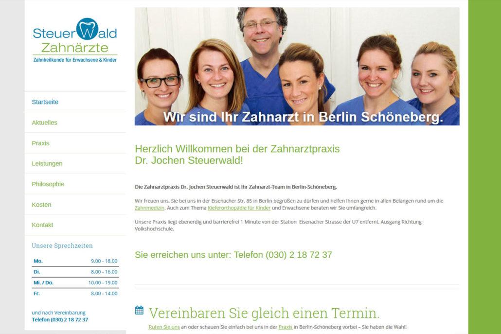Webdesgin für die Zahnarztpraxis Dr. Jochen Steuerwald in Berlin